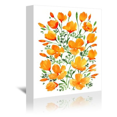 Americanflat Watercolor California Poppies by Blursbyai Wrapped Canvas