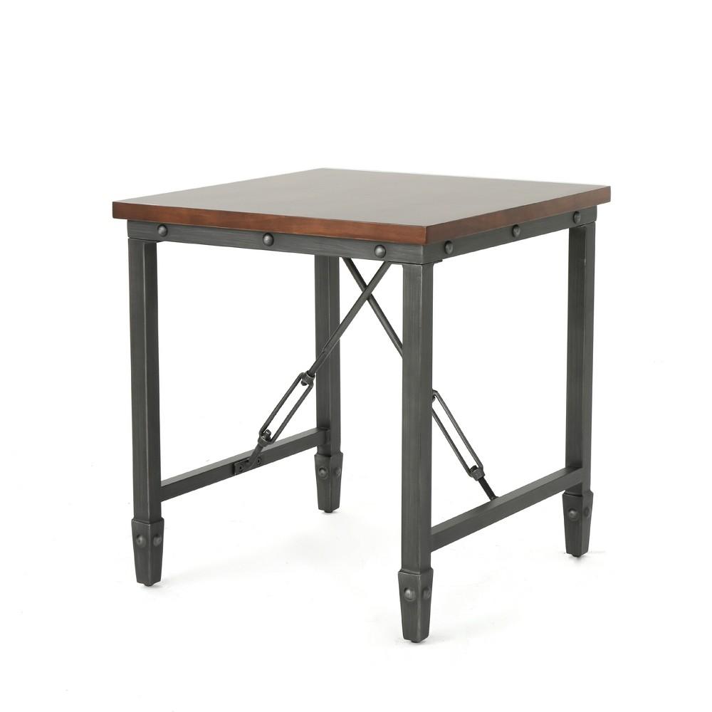 Iniko Industrial Side Table Dark Walnut - Christopher Knight Home