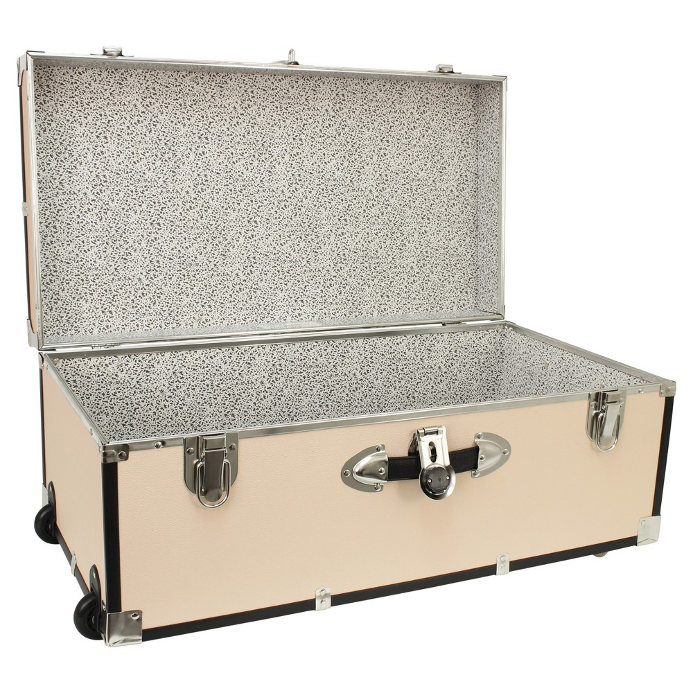 "Image of ""Advantus 30"""" Footlocker Storage Trunk With Wheels Cream, Ivory"""