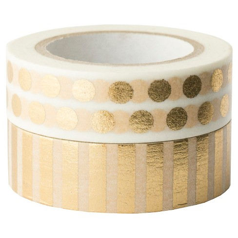 Sugar Paper® Washi Tape Set, 2ct - Gold Stripes and Dots - image 1 of 4