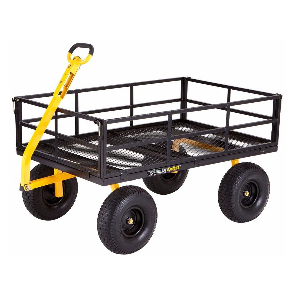 Gorilla Carts Extra Heavy-Duty Steel Utility Cart with Removable Sides and Pneumatic Tires, 1400-Pound Capacity, Black