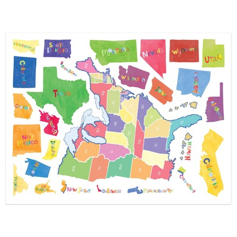 Wallies Wall Play Us State Map Peel Stick Dcor Target