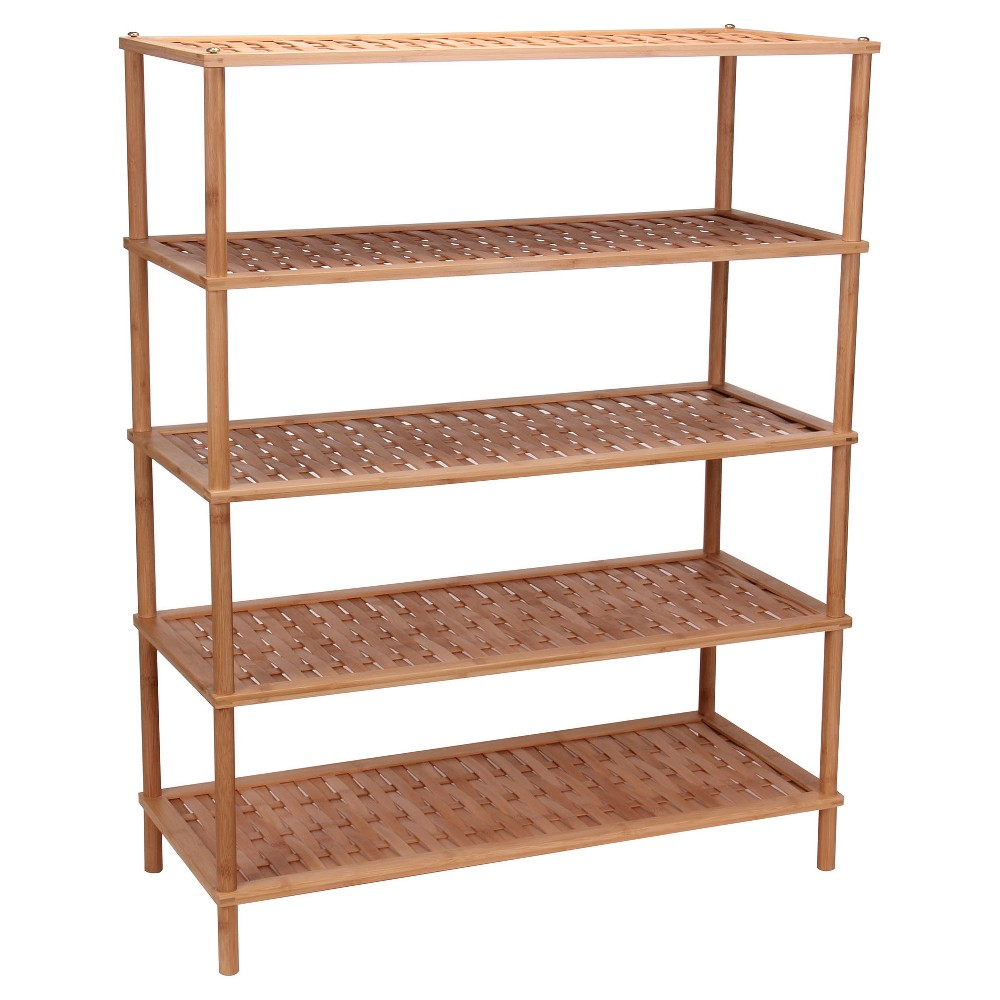 Household Essentials 5-Tier Shoe Rack - Bamboo, Light Brown