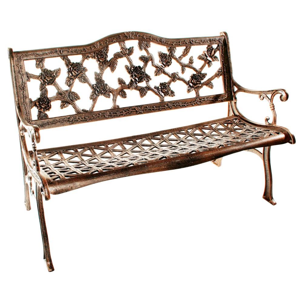 Image of English Rose Cast Aluminum Patio Bench
