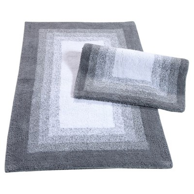 Whitney Ombre Reversible 2 Piece Bath Rug Set Hi Rise Gray - Chesapeake Merchandising Inc.