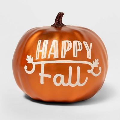 "Metallic ""Happy Fall"" Painted Harvest Pumpkin Medium Copper - Spritz™"