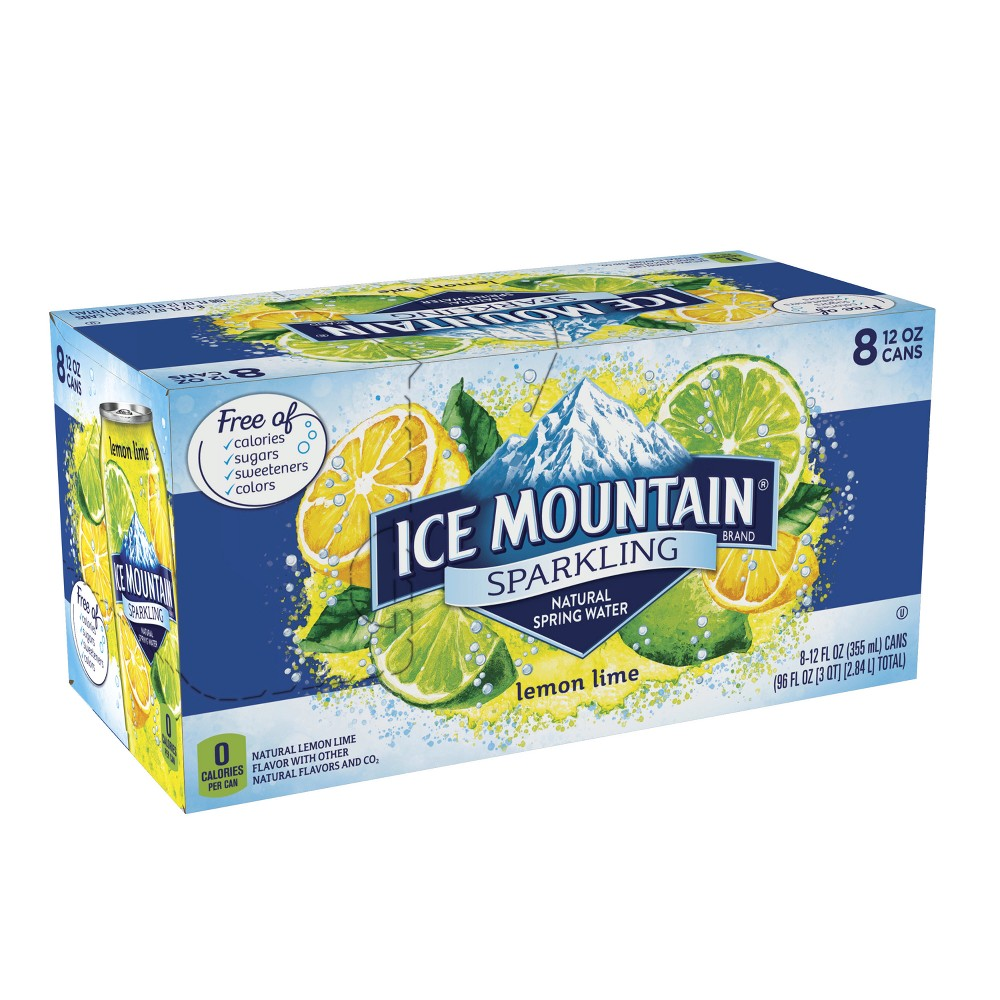 Ice Mountain Lemon Lime Flavored Sparkling Water - 8pk/12 fl oz Cans