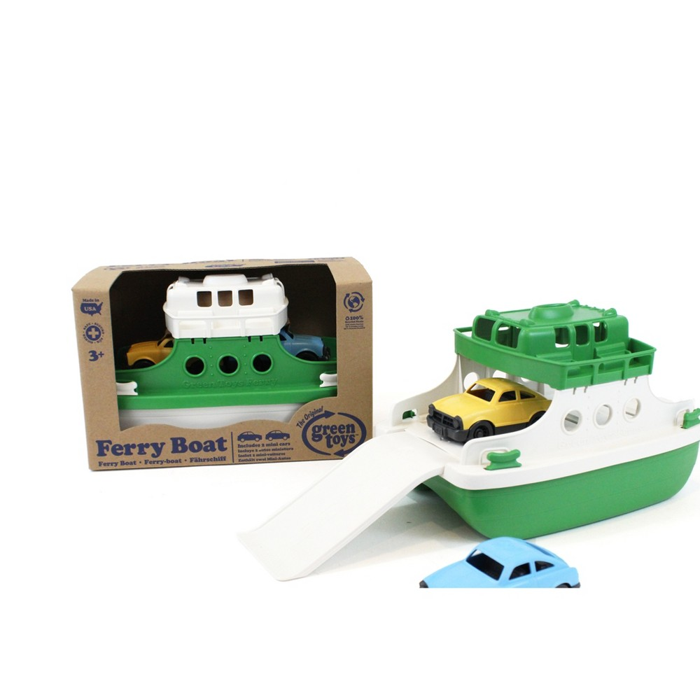 Green Toys Ferry Boat with Mini Cars- Green Top/White Bottom