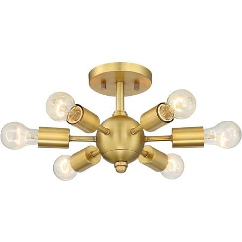 Possini Euro Design Mid Century Modern Ceiling Light Semi Flush Mount Fixture Antique Brass 13 Wide 6 Light Sputnik For Bedroom Target