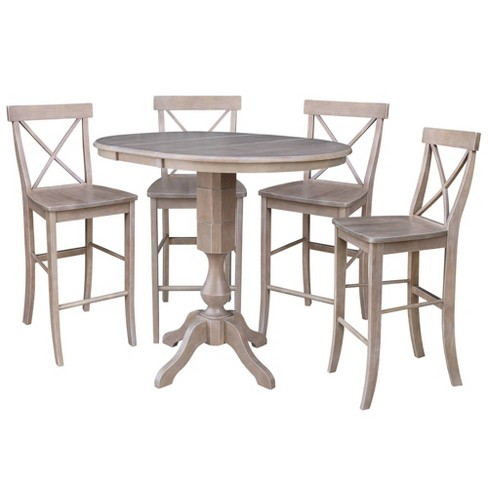 "36"" Jessica Round Extension Bar Height Table and Four Stools Taupe - International Concepts - image 1 of 4"