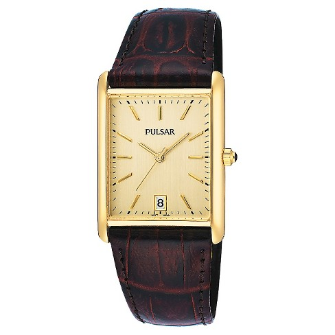 Men's Pulsar Basic Dress Watch -  Gold Tone with Brown Leather Strap - PXDA84 - image 1 of 1