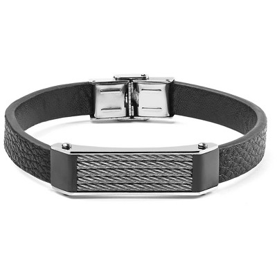Men's West Coast Jewelry Black Leather and Stainless Steel Cable Inlayed ID Plate Bracelet