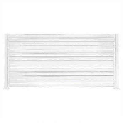 Stratco SC-10668 Outdoor Powder-Coated Aluminum Metal 8 x 6 Foot Quick Screen Horizontal Fence Panel Easy Installation Fence in a Box System, White