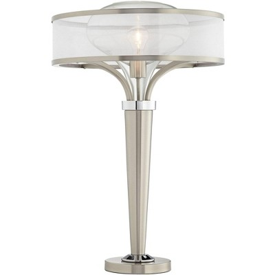 Possini Euro Design Modern Table Lamp Brushed Steel Metal Tapered Body Double Glass Mesh Drum Shade for Living Room Family Bedroom