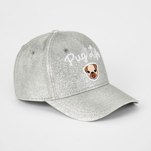 Girls' Emoji Pop Culture Pug Life Baseball Cap - Silver - image 1 of 2