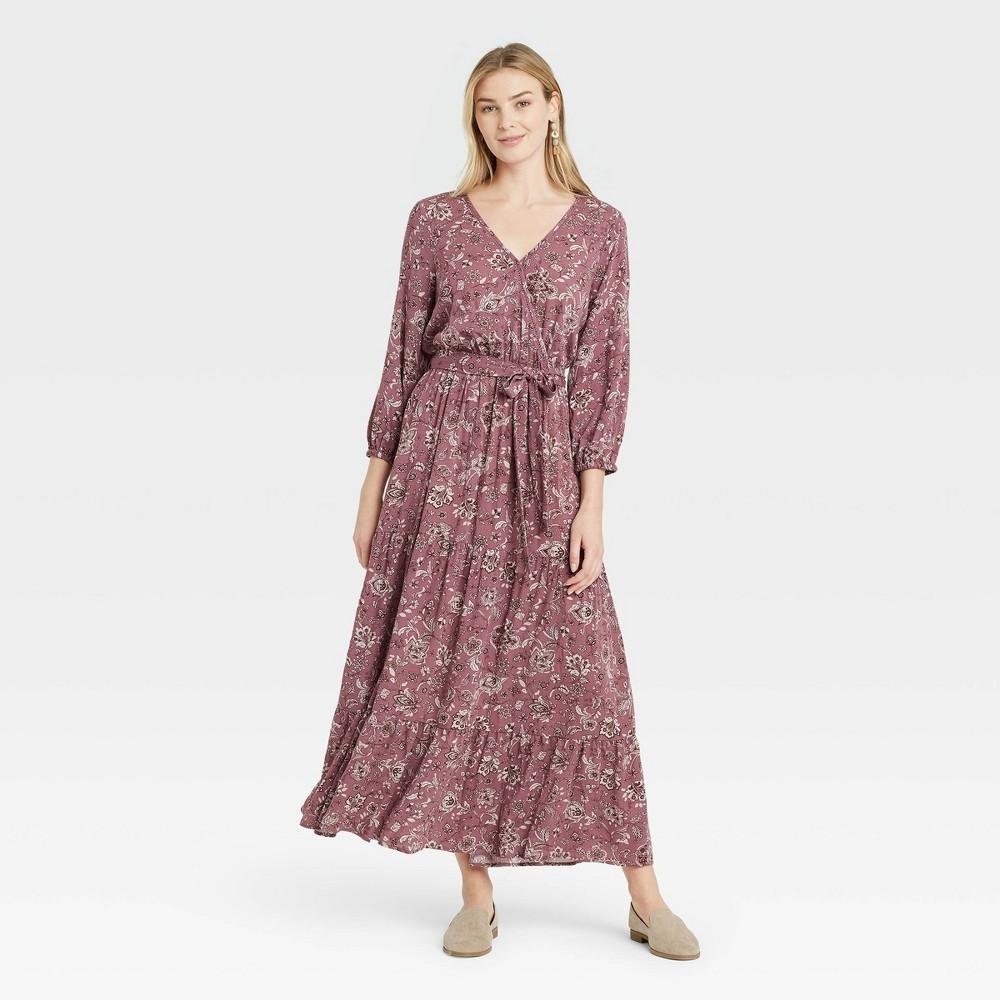 Women 39 S Floral Print Long Sleeve Wrap Dress Knox Rose 8482 Purple Xs