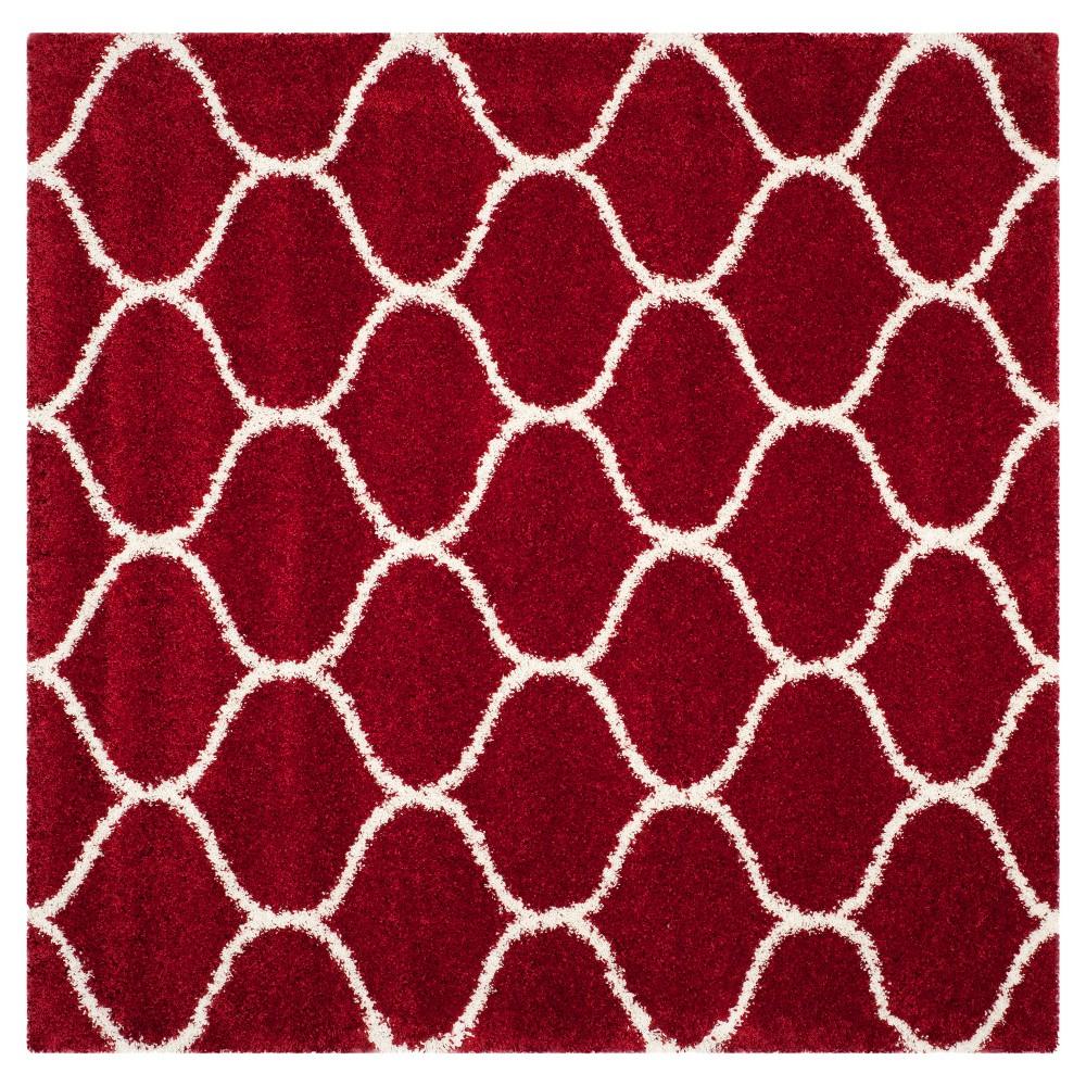 Red/Ivory Abstract Shag/Flokati Loomed Square Area Rug - (7'X7') - Safavieh