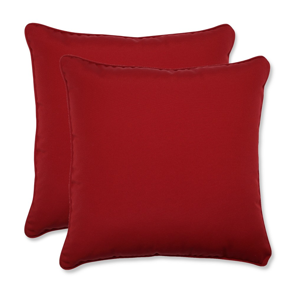 2 Piece Outdoor Square Pillow Set Red 18
