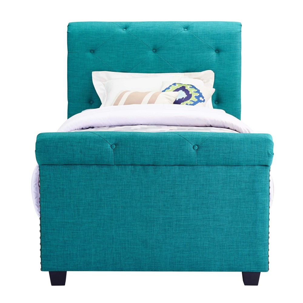 Image of Addie Youth Twin Upholster Bed Teal Blue - Picket House Furnishings, Green
