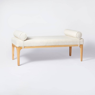 Randolph Bench with Bolster Pillows Linen - Threshold™ designed with Studio McGee