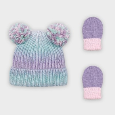 Baby Girls' Rib Ombre Knit Beanie and Magic Mittens Set - Cat & Jack™ Teal/Pink/Purple 0-6M