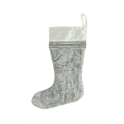 """Northlight 17"""" Gray and White Quilted Embellished Christmas Stocking"""