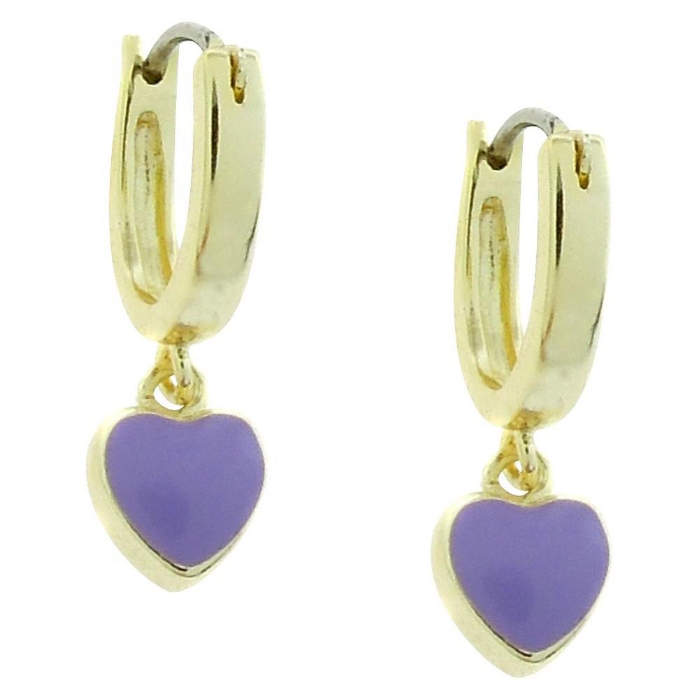 Image of ELLEN 18k Gold Overlay Enamel Heart Dangle Hoop Earrings - Lavender, Women's, Gold/Purple