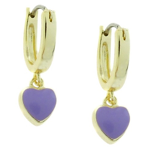 ELLEN 18k Gold Overlay Enamel Heart Dangle Hoop Earrings - Lavender - image 1 of 1