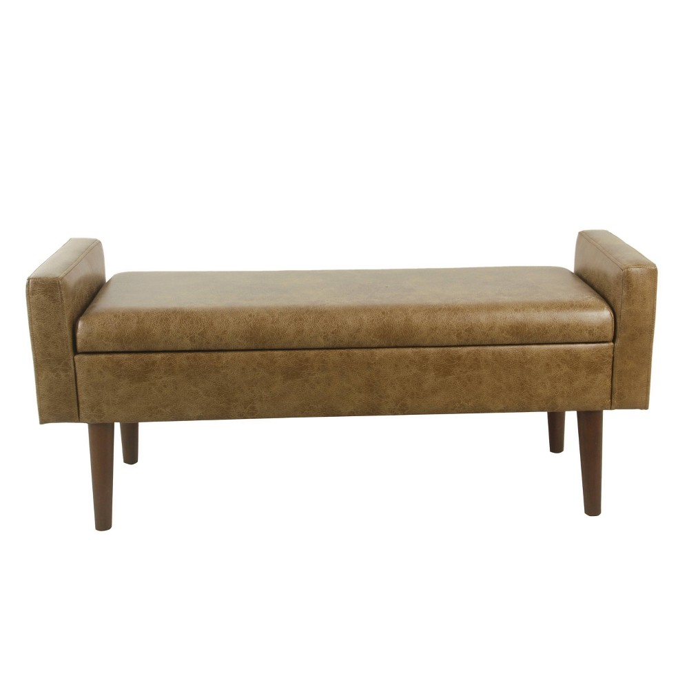 Fulton Storage Bench Faux Leather Distressed Brown - HomePop was $239.99 now $179.99 (25.0% off)