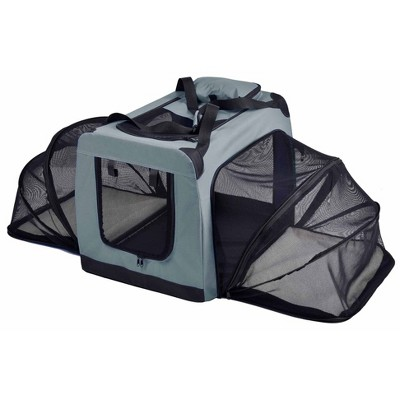 Pet Life Hounda Accordion Metal Framed Soft-Folding Collapsible Dual-Sided Expandable Dog Crate - Gray