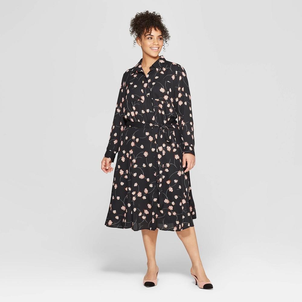 Women's Plus Size Floral Print Long Convertible Sleeve Button Detailed Shirtdress - Who What Wear Black X