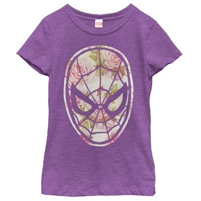 Girl's Marvel Spider-Man Floral Print T-Shirt