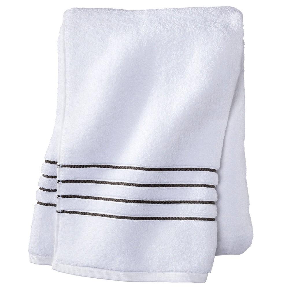 Bath Sheet White Gray Stripe Fieldcrest 8482