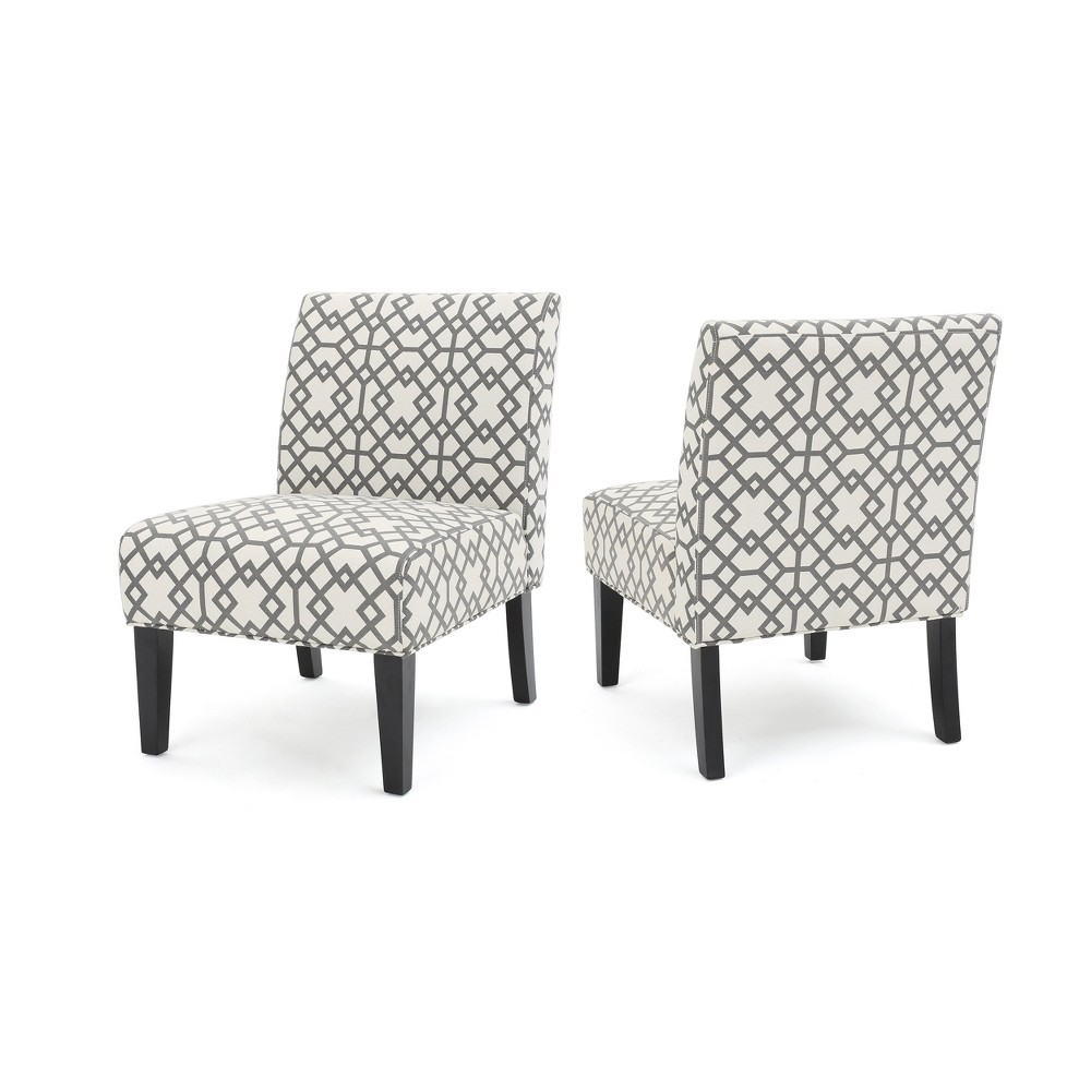 Set of 2 Kassi Accent Chair Geometric Patterned Gray - Christopher Knight Home, Grey Geometric