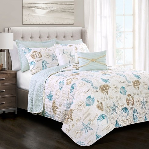 Blue Taupe Harbor Life Quilt Set 7pc Lush Decor