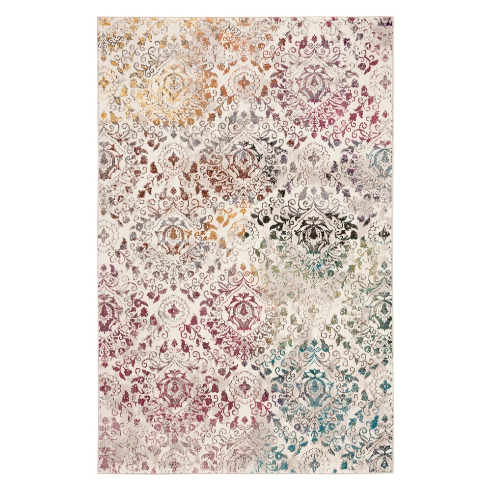 4'X6' Medallion Loomed Area Rug Cream - Safavieh, Ivory/Multi-Colored