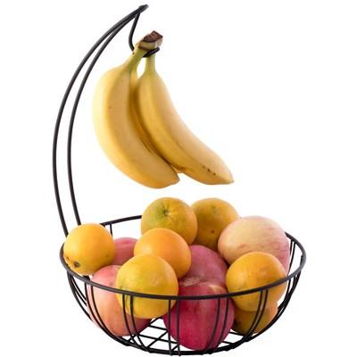 Basicwise Wire Metal Fruit Basket Holder with Banana Hanger