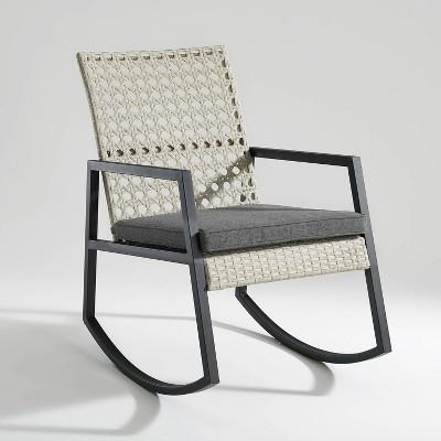 Komodo Modern Boho Faux Rattan & Metal Outdoor Rocking Chair with Cushion - Saracina Home