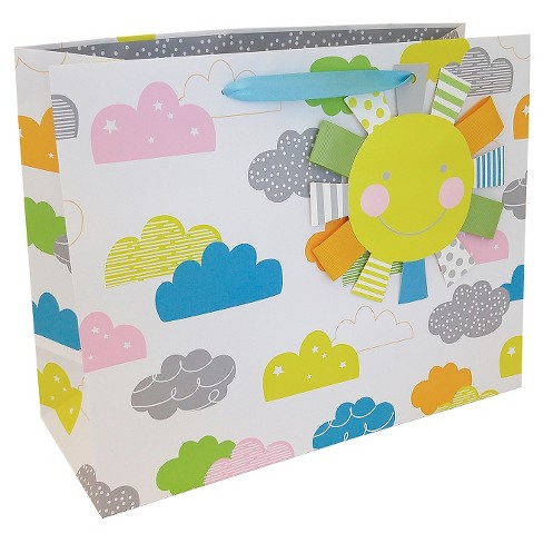 Blue/Pink/Gray Cloud Gift Bag - Spritz™ - image 1 of 1
