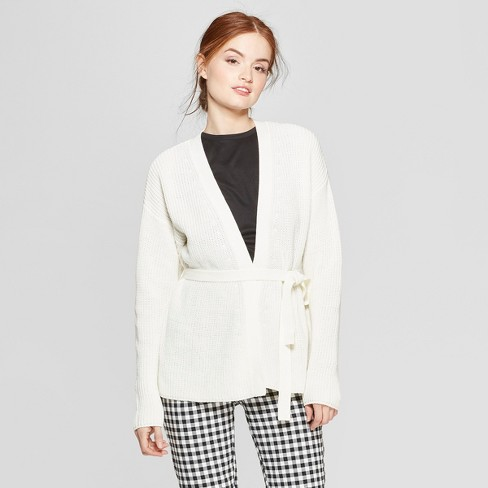 Women's Long Sleeve Belted Wrap Cardigan - A New Day™ White L - image 1 of 3