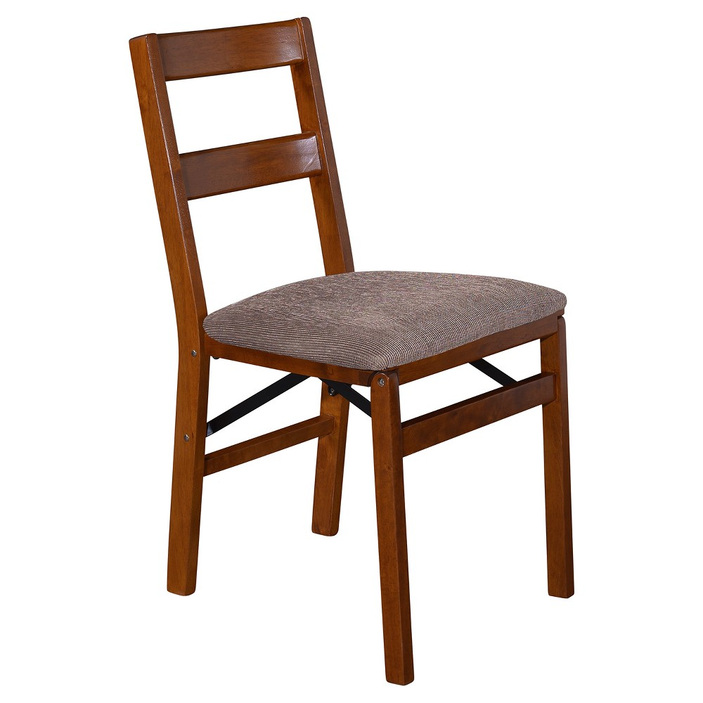 Image of Set of 2 Classic Slat Back Folding Chair Fruitwood - Stakmore