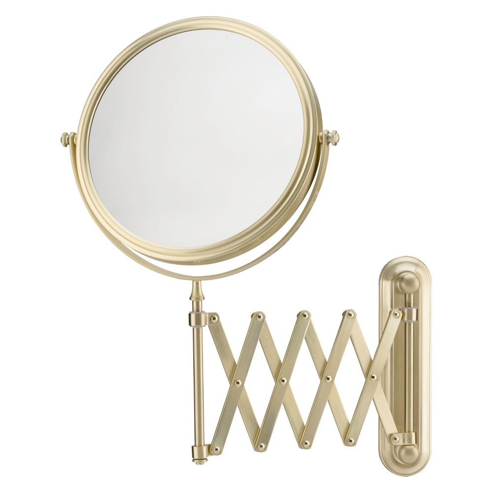 "Image of ""Mirror Image 5""""x1"""" Arm Wall Extension Decorative Wall Mirror Brushed Brass, Gold"""