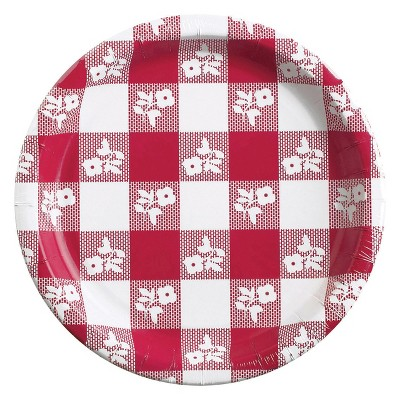 24ct Red Gingham Banquet Plates Red