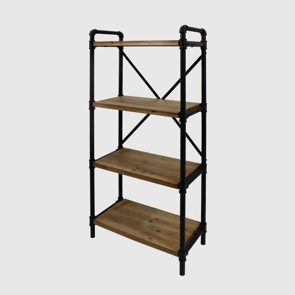 Image of Greenwood Industrial Iron Four Shelf Bookcase Black/Antique Brown Finish - Christopher Knight Home