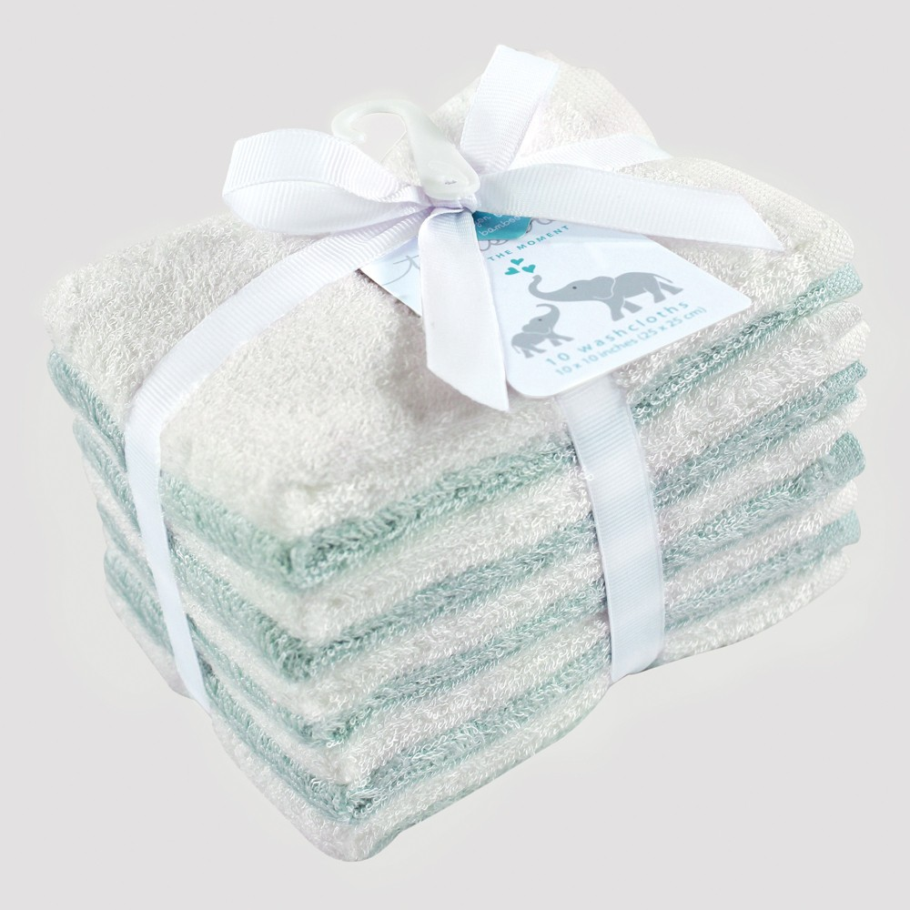 Hudson Baby 10pk Washcloth Set - Mint/White (Green/White) 0-24M