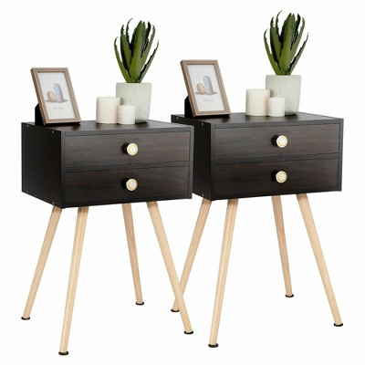 Costway 2 PCS Mid Century Modern 2 Drawers Nightstand Sofa Side Table End Table Espresso