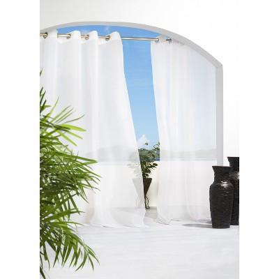 Solid Indoor/Outdoor Grommet Top Sheer Curtain Panel - White 54 x 84