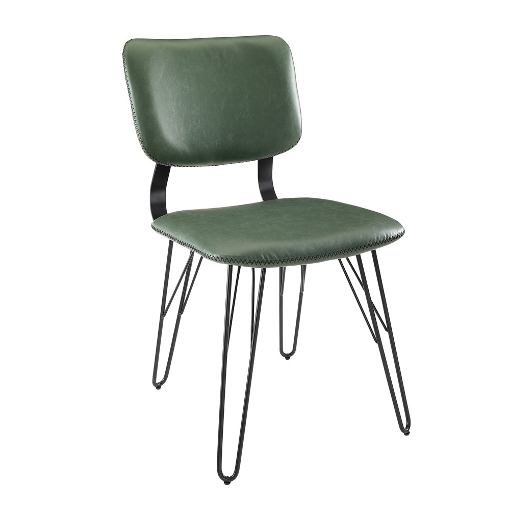 Image of 2pk Flex Back Accent Dining Chair with Black Stitching Green - Saracina Home