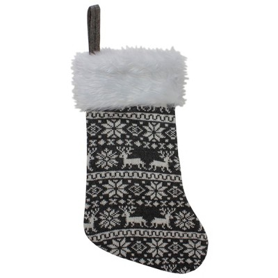 "Northlight 19"" Gray and White Reindeer and Snowflake Knit Christmas Stocking with Faux Fur Cuff"