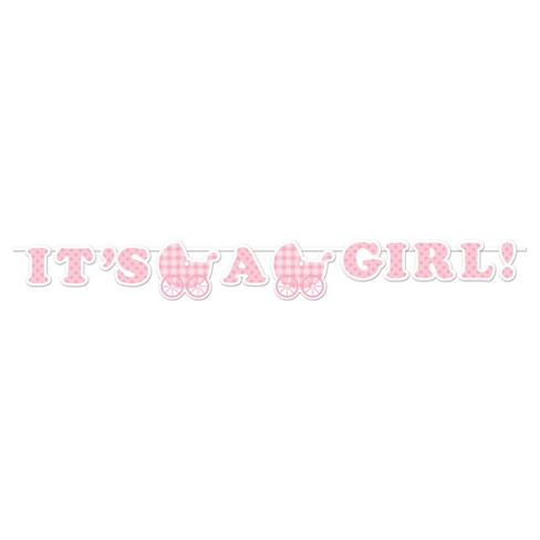 It's a Girl Gingham Banner - image 1 of 1